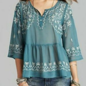 Free People sheer boho embroidered top